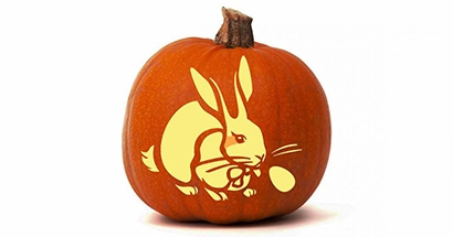 Pumpkin with Easter Bunny Carving